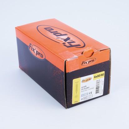 Vis à bois tête fraisée PZ - 6x80/60 - 150pces - Fixpro