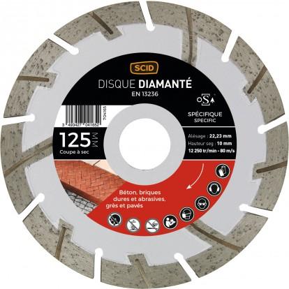 Disque diamanté matériaux durs et abrasifs SCID - Diamètre 125 mm