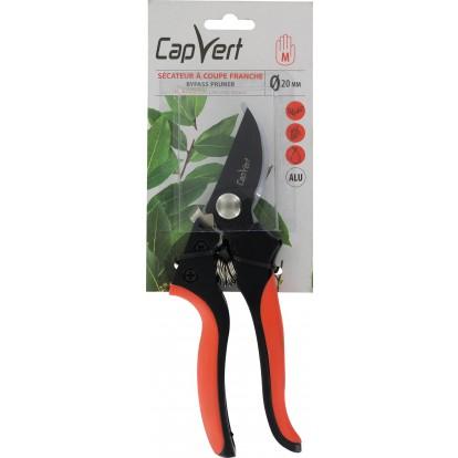 Sécateur coupe franche revêtement TPR Cap Vert - Longueur 20 cm