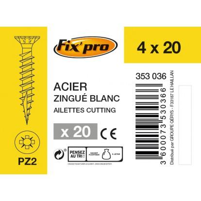 Vis à bois tête fraisée PZ - 4x20 - 20pces - Fixpro