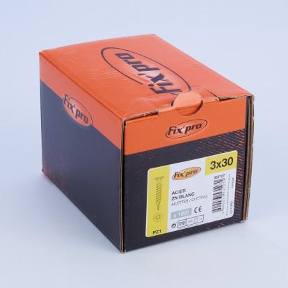 Vis à bois tête fraisée PZ - 3x30 - 1000pces - Fixpro