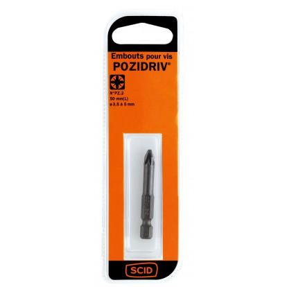 Embout de vissage 50 mm PZ S2 SCID - PZ2 - Vendu par 1