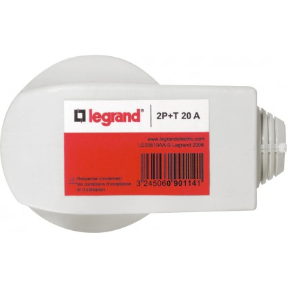 Fiche plastique 2P+T 20 A Legrand - Mâle - Sortie latérale - Blanc