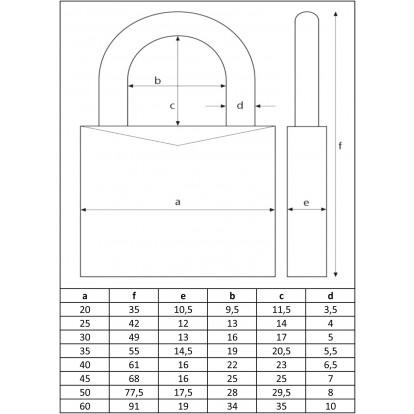Cadenas laiton massif série 65 Abus - Anse 35 mm - Longueur 60 mm