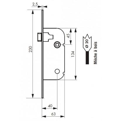 Serrure à larder réversible bec de cane PVM - Réversible - Bouts ronds - Entraxe 70 mm - l x h x p - 20 x 230 x 63 mm