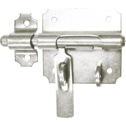 Verrou de box avec porte cadenas Torbel - Zingué blanc - Diamètre pêne 10 mm