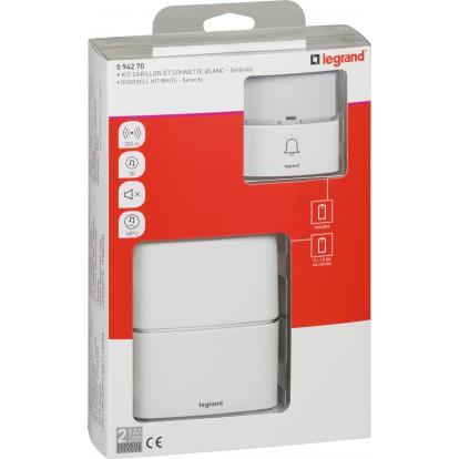 Kit carillon et sonnette sans fil 30 mélodies MP3 alimentation par piles  Serénité Legrand - Blanc