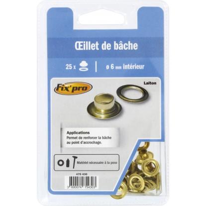 Œillet de bâche Fix'Pro - Diamètre Intérieur 6 mm - Vendu par 25