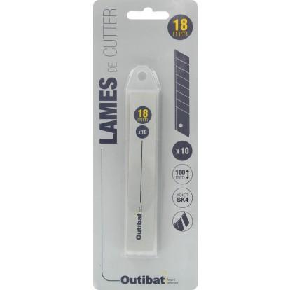 Lame autocassante pour cutter Outibat - Largeur 18 mm - Vendu par 10