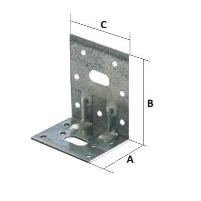 Equerre galvanisée réglable Alberts - Dimensions 77 x 64 x 50 mm