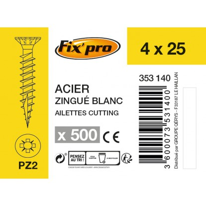 Vis à bois tête fraisée PZ - 4x25 - 500pces - Fixpro