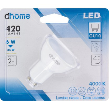 Ampoule LED GU10 dhome - 100° - 420 Lumens - 6 W - 4000 K - Dimmable