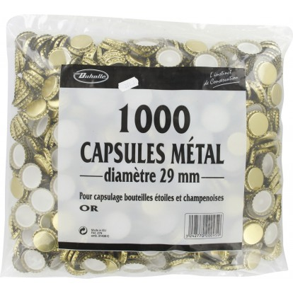 Capsule bouteille champenoise Duhallé - Or sans opercule - Diamètre 29 mm - Vendu par 1000