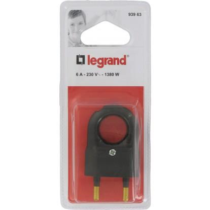Fiche plastique 2P 6 A Legrand- Mâle - Noir