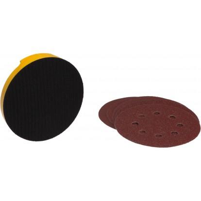 Cale de ponçage ronde avec 5 disques abrasifs auto-agrippant SCID - Grain 40, 80 et 120