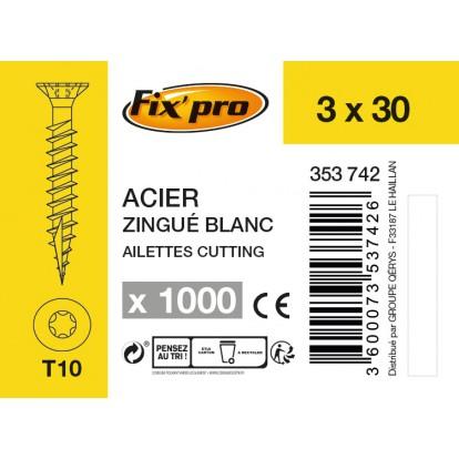 Vis à bois tête fraisée TX - 3x30 - 1000pces - Fixpro