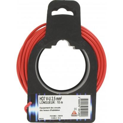 Fil H07 V-U 2,5 mm² Dhome - Longueur 10 m - Rouge