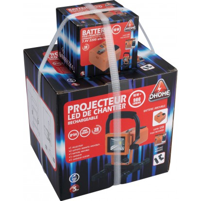 Projecteur LED de chantier rechargeable  Dhome - 900 lm - 2 batteries