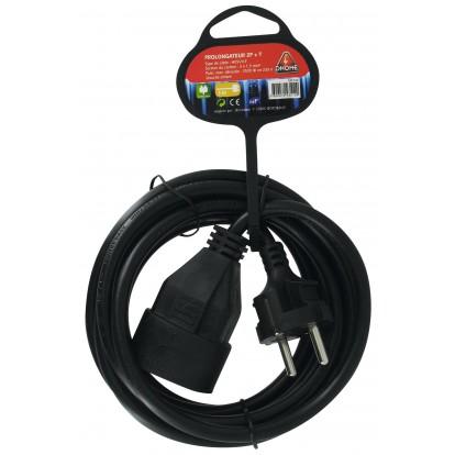 Prolongateur câble souple noir Dhome - H05 VV-F - Longueur 3 m - Section 1,5 mm²