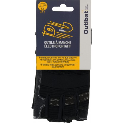 Mitaines cuir synthétique antidérapant poignet auto-grippant Outibat - Taille 8