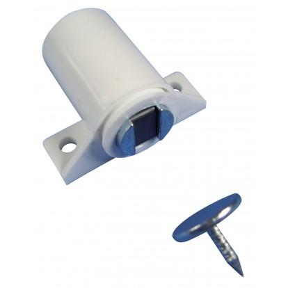 Loqueteau magnétique à visser 4 kg Strauss Vonderweidt - Blanc - Dimensions 22 x 14 mm - Vendu par 1
