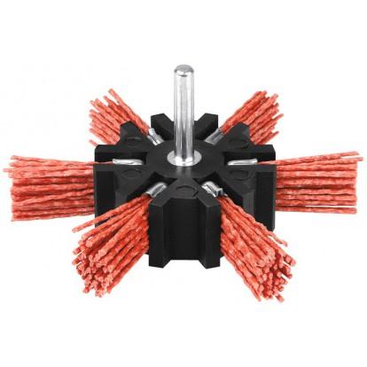 Brosse éventail nylon rouge sur tige SCID - Diamètre 100 mm