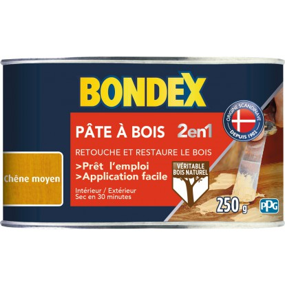 Pâte à bois 2 en 1 Bondex - Chêne moyen - 250 g