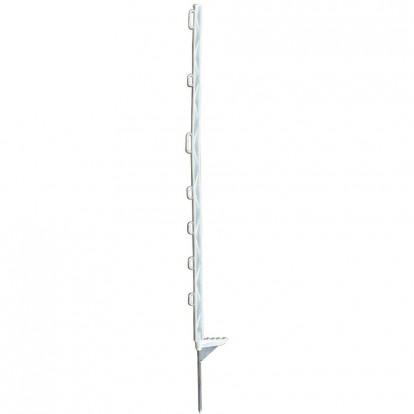 Piquet plastique bêche renforcée blanc Chapron Lemenager - 8 isolateurs - Hauteur 1,5 m