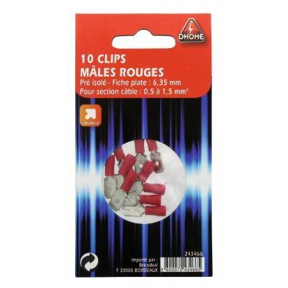 Clip mâle pré isolé Dhome - Rouge - Diamètre 6,35 mm - Vendu par 10