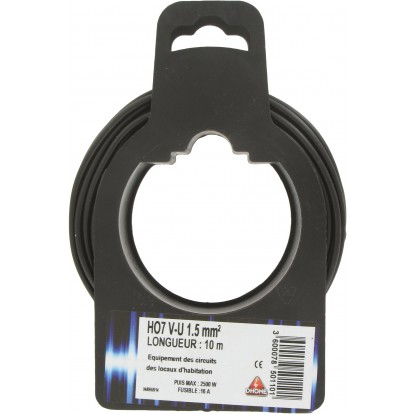 Fil H07 V-U 1,5 mm² Dhome - Longueur 10 m - Noir