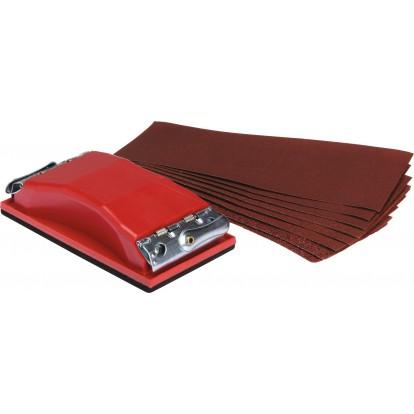 Cale de ponçage à pinces avec 10 feuilles abrasives SCID - Grain 120, 80 et 40