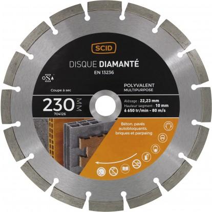 Disque diamanté polyvalent professionnel SCID - Diamètre 230 mm