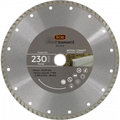 Disque diamanté béton granit bricolage SCID - Diamètre 230 mm