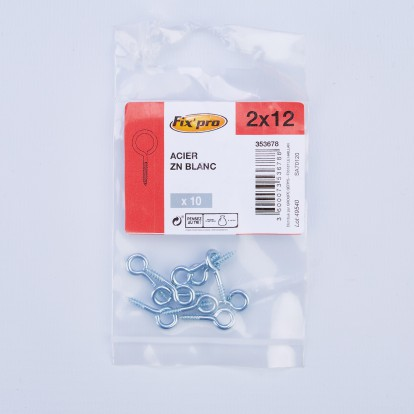 Piton à visser acier zingué - 2x12 - 10pces - Fixpro