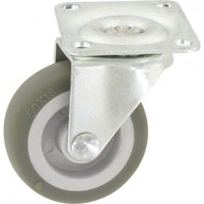 Roulette Mini Roll à platine pivotante Guitel point M - Roue Plastex gris - Charge utile 20 kg
