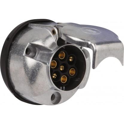 Socle normalisé pour remorque 7 plots métal - 12 V