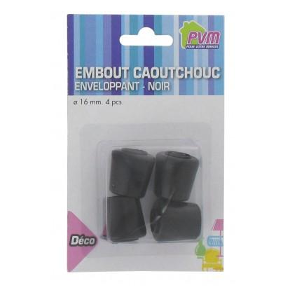 Embout enveloppant caoutchouc noir PVM - Diamètre 16 mm - Vendu par 4