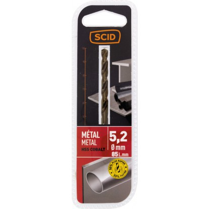 Foret métal HSS cobalt SCID - Longueur 85 mm - Diamètre 5,2 mm