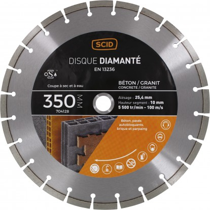 Disque diamanté polyvalent professionnel SCID - Diamètre 350 mm