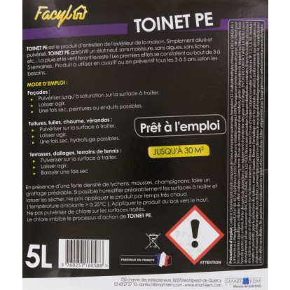 Nettoyant et traitement des toitures et façade Toinet PE Facyl - Bidon 5 l