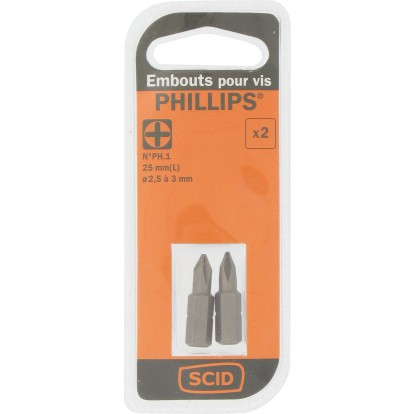 Embout de vissage 25 mm Phillips S2 SCID - PH1 - Vendu par 2