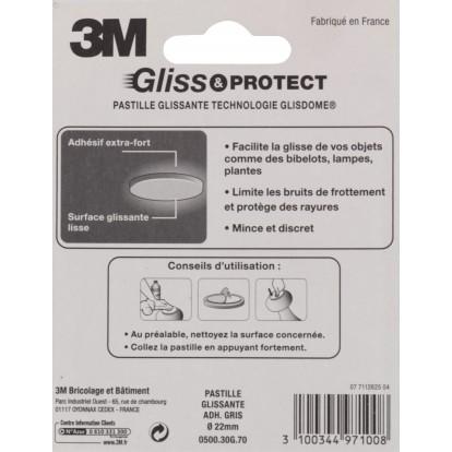 Patin adhésif glisseur plastique spécial objets 3M - Diamètre 22 mm - Vendu par 9