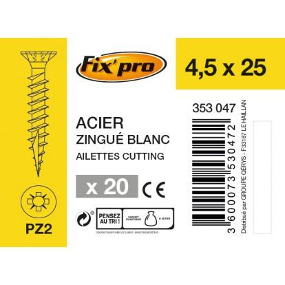 Vis à bois tête fraisée PZ - 4,5x25 - 20pces - Fixpro