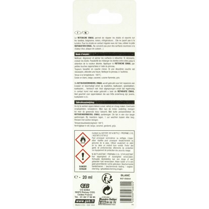 Retouche pour surfaces émaillées Geb - Tube 20 ml - Blanc
