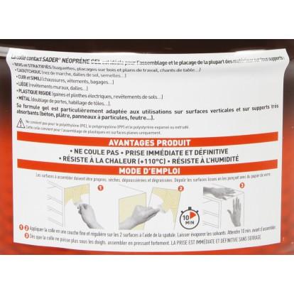 Colle néoprène contact gel Sader - Seau 2,5 l