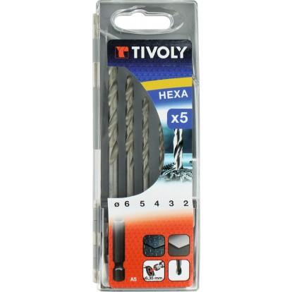 Coffret forets métaux hexagonaux HSS Tivoly - 5 forets - Diamètre 2 à 6 mm
