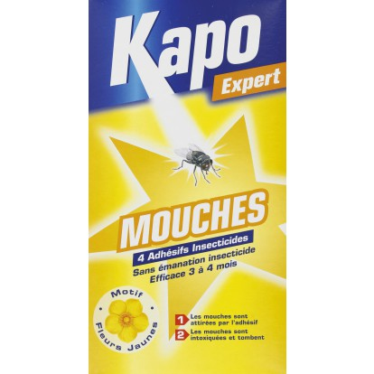 Mouches sticker Kapo Expert - 1 adhésif pour 10 m² - étui de 4
