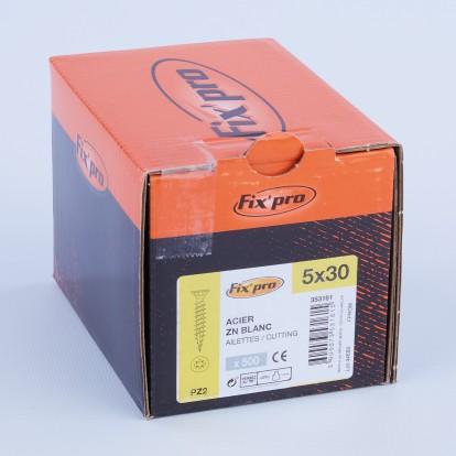 Vis à bois tête fraisée PZ - 5x30 - 500pces - Fixpro