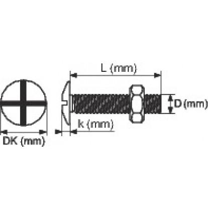 Boulon poêlier zingué - Ø 6 mm - 50 mm - Filetage total - Boîte de 100 - Viswood