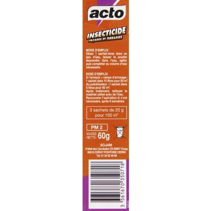 Insecticide façades et terrasses Acto - Pour 150 m² - Sachet 3 x 20 g
